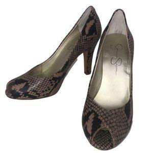 Jessica Simpson Leather Ramona Snake Print Heels